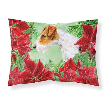 Fox Terrier Poinsettas Fabric Standard Pillowcase CK1298PILLOWCASE