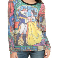 Disney Beauty And The Beast Stained Glass Girls Pullover Top