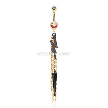 Lightning Bolt Gold Chain Tassel Belly Ring (Aurora Borealis)