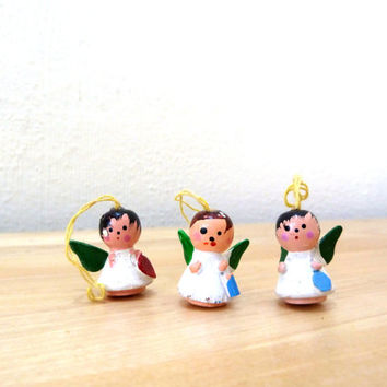 Vintage Miniature Ornaments / Wooden Angels / Christmas Ornaments / Hand Painted / Xmas Decorations