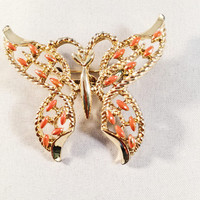 Gold and Orange Butterfly Brooch, Vintage Jewelry