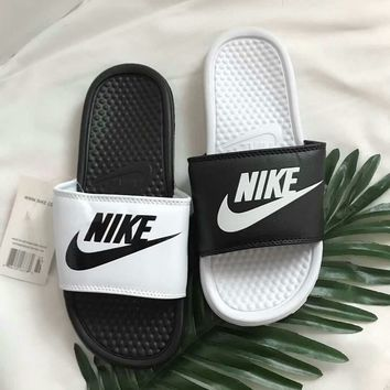 """Nike"" Summer Unisex Fashion Personality Multicolor Letter Slippers Couple Home Sandals Flats Shoes"