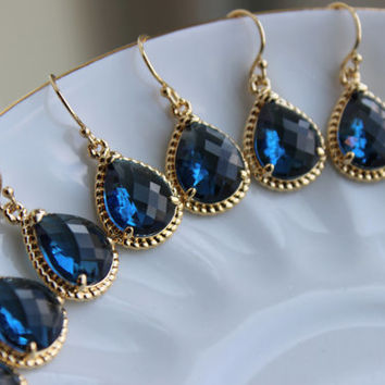 15% OFF SET OF 5 Wedding Jewelry Bridesmaid Earrings Bridesmaid Jewelry - Sapphire Earrings Gold Navy Blue Teardrop - Navy Bridal Earring