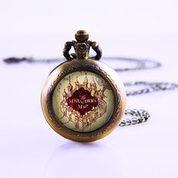 Harry Potter Marauders Map Pocket watch , Watch Necklace , Vintage Map Watch Necklace , Harry potter Gift ,Vintage Map