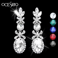 2016 New Silver Long Earrings with Stones colorful emerald green earrings bridal party long crystal earrings cristal ers-g80