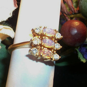 Avon Costume Ring Iridescent Pink Purple Faux Opals Gold Tone Rhinestone Accents October Birthstone Jewelry