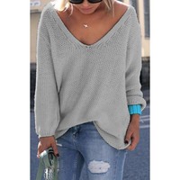 Long Sleeves Pure Color Loose-Fitting Women's Sweater