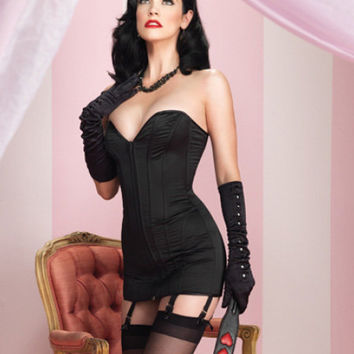 Retro Pinup Lingerie - Black Satin Sweetheart Corset Dress with Zipper Front, Lace Up Back & Attached Garter Straps