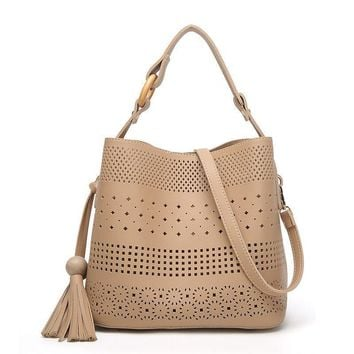 S.P.L. fashion composite bag bucket handbags women shoulder bag hollowed bucket bag charming ladies messenger bag with tassel