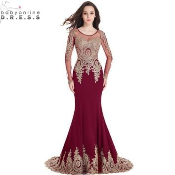 c3c31b05185 Real Image Cheap Burgundy Long Sleeve Mermaid Lace Prom Dresses