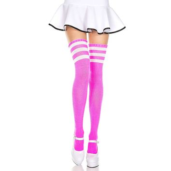 8592c123c50c4 Pink and White 3 Stripe Thigh High Socks from Rave Wonderland | A