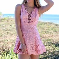 Tallahassee Papaya Whip Sleeveless Crochet Dress