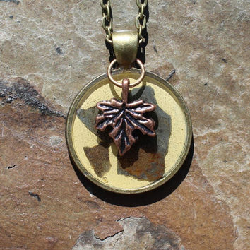 Mixed Metals Maple Leaf Charm Necklace with Upcycled Slate, Slate Necklace, Autumn Necklace, Nickel-free Necklace, Gift Idea, Gift for her