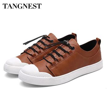 Tangnest 2017 New Fashion Man Shoes Spring Split Leather Lace-up Solid Round Toe Breathable Soft Man Shoes Male Shoes XMR2546