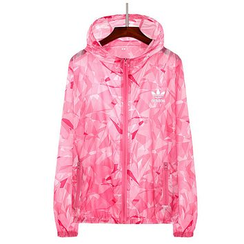 """Adidas"" Women Fashion Zip Cardigan Jacket Coat Sweatshirt Pink"