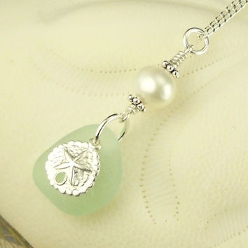 Aqua Sea Glass Necklace With Pearl And Sand Dollar