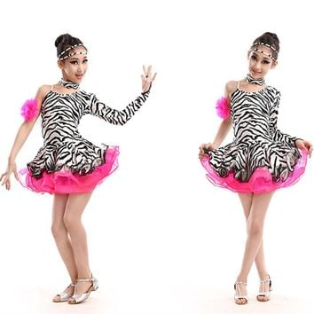 Sexy Plus Size Zebra Long Sleeves Dancing Clothing Girl Kids Competition Latin Dance Dress Ballroom Tango Rumba Salsa Costumes