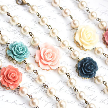 Bridemaids Bracelet Rose Bracelet with pearls Teal Rose Pink Coral Dusty Pink Flower Bracelet Summer Wedding Jewelry Maid of Honor Gift