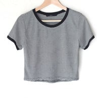 Striped Crop Ringer Tee - Black
