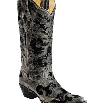 LMFYW3 Corral Black Crater Sequence Inlay Snip Toe Boots