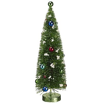"14"" Pre-Decorated Flocked Glitter Bottle Brush Christmas Tree - Unlit"