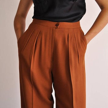 Brown Wool Trousers, Vintage 90s Pants, High Waist Pants, Loose Tapered Pants, Pleated Trousers, Fall Winter Pants, 90s Minimal Trousers