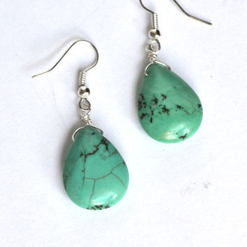 Stone Turquoise Earrings. Drop Earrings Turquoise Jewelry. Blue Earthy Yoga Earrings. Canadian Jewelry Shop