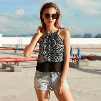Ladies Women Sleeveless Floral Patchwork Loose Casual Leisure Club Tank Camis Tops