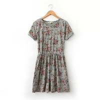Grey Floral Print Cuffed Short-Sleeve A-Line Dress