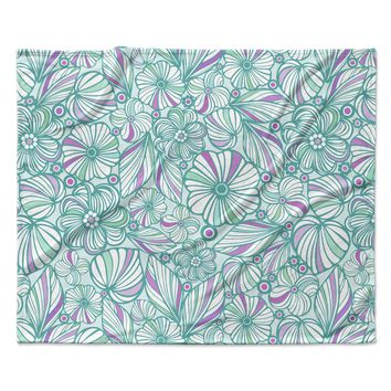 "Julia Grifol ""My Turquoise Flowers"" Teal Pink Fleece Throw Blanket"