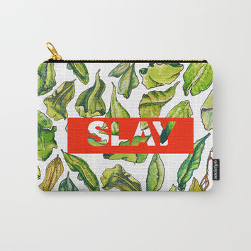 slay tea slay! // watercolor tea leaf pattern with millennial slang Carry-All Pouch by Camila Quintana S