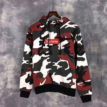 One-nice™ Supreme Camouflage Embroidery Top Sweater Hoodie Red I