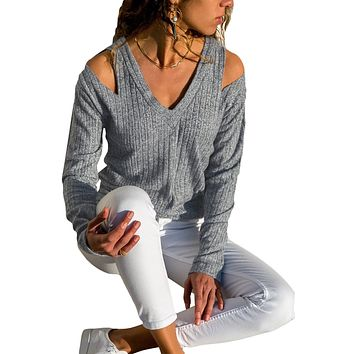 Gray Ribbed V Neck Cold Shoulder Top