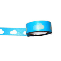 Blue Washi Tape with White Clouds