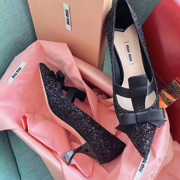 Miu Miu Black and Silver Higjh Heels