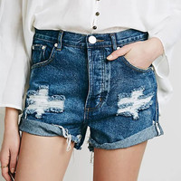Summer Women Ripped Holes Boyfriend Rinsed Denim High Waist Casual Plus Size Shorts [6328871745]