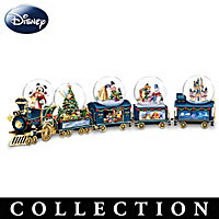 Miniature Snowglobe Christmas Train With Disney Characters