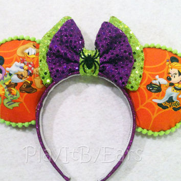 "Halloween Not So Scary ""Mickey/Minnie Trick or Treat"" Custom Mouse Ears"