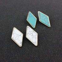 Strong Character King Size Geometric Ladies Turquoise Earrings [4956890756]