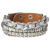 Capsule by Cära Wide 3-Row Leather Multi-Colored Bracelet - Silver