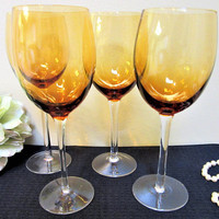 Wine Glasses Water Goblets Amber Stemware Holiday New Years Eve Party Gifts blm