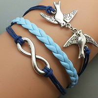Silver Birds  & Infinity wish  Bracelet  Navy Ropes by Haoyou
