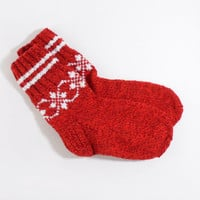 Hand Knitted Socks - Red, Size Small