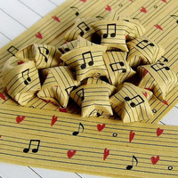 paper stars 100pcs-Music Printed Paper Stars Origami Lucky Stars  Wedding decoration  Colorful Paper star  child room decoration