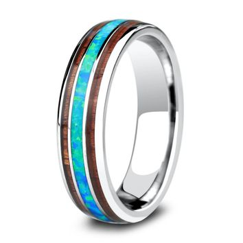 Opal Wood Barrel Ring