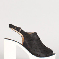 Women's Perforated Leatherette Stars And Circles Slingback Lug Sole Heel