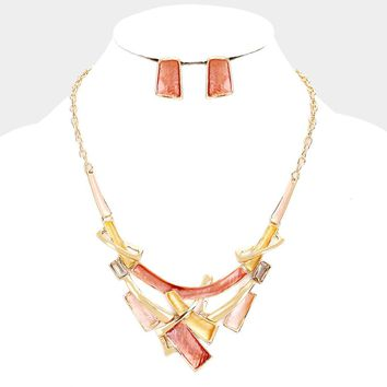 Crystal Rectangle Geometric Metal Cluster Necklace