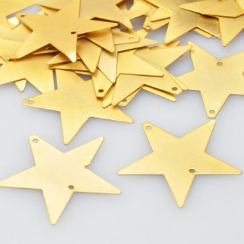 5 Pieces Gold Plated Star Pendant, Jewelry Findings, Jewelry Making Supply