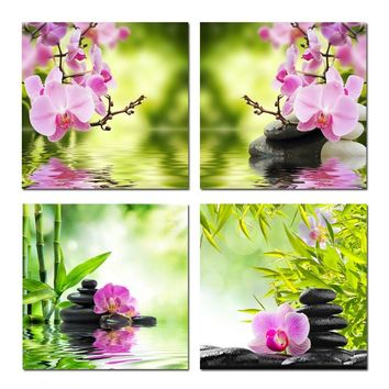 BANMU Nature Butterfly Orchid Flower Zen Stones Painting Wall Art Bamboo Picture Print on Canvas Modern Art Wall No Frame