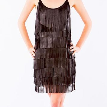 Rare Trends Chocolate ICICLE FRINGE DRESS